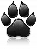 Black animal paw print isolated on white vector illustration poster