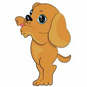playing puppy icon. dog pet licking illustration poster