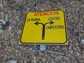 Discarded traffic diversion sign in rural Andalusian countryside poster