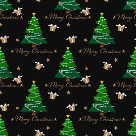 Christmas Elements Seamless Pattern Of Christmas Tree And Gift Box. Cute Christmas Holidays Seamless