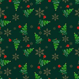 Christmas Elements Seamless Pattern With Christmas Tree, Christmas Ball And Snowflakes For Greeting