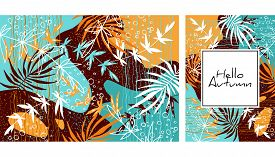 Tropical Jungle Leaves Pattern. Colorful Hand Drawn Tropical Poster Design. Exotic Leaves Art Print.
