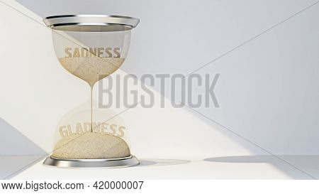 Concept Hourglass With Text Sadness And Gladness. 3d Rendering