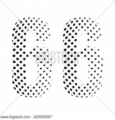 Number Sixty- Six, 66 In Halftone. Dotted Illustration Isolated On A White Background. Vector Illust