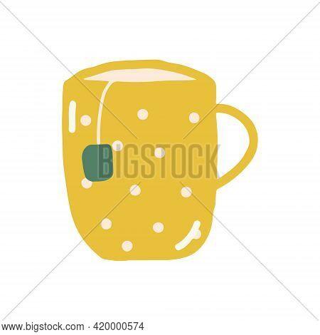 Tea Cup With Tea Bag Hand Drawn In Trending Color 2021. Scandinavian Hygge. Cozy Home.