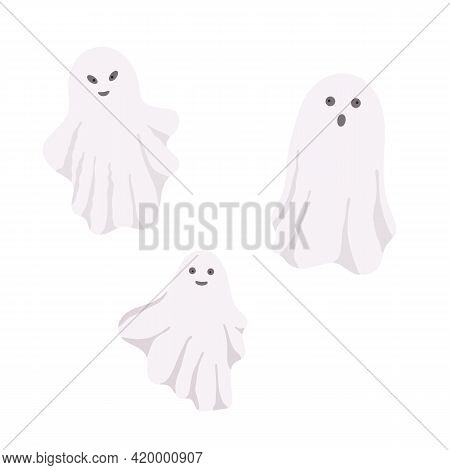 Little Cute White Ghost With Face Emotions Vector Illustration On The White, Cartoon Spooky Simple C