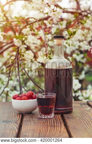 A Bottle Of Cherry Liqueur And Cherry Berries On The Background Of A Flowering Tree. Homemade Alcoho