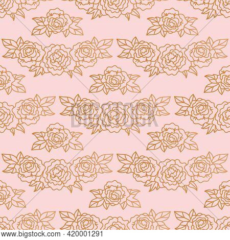 Peonies Seamless Pattern. Rose Gold Background With Elegant Linear Peonies, Vector Illustration