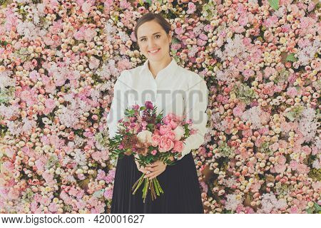 Happy Beautiful Woman With Bouquet Of Rose Flowers, Women's Day Concept