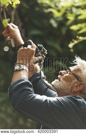 An Active Hobby In Retirement. Close-up Portrait, Man Photographing Nature.