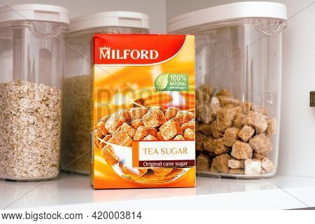 Tambov, Russian Federation - March 19, 2021 Box With Cane Sugar By Milford On Cupboard Shelf.