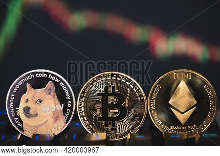 Dogecoin Doge, Ethereum Eth, Bitcoin Btc Group Included Cryptocurrency And Stock Chart Candlestick D