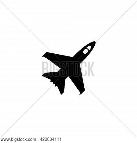 Armed Jet Fighter, Flight War Plane. Flat Vector Icon Illustration. Simple Black Symbol On White Bac