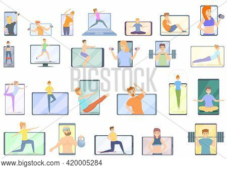 Fitness Blog Icons Set. Cartoon Set Of Fitness Blog Vector Icons For Web Design