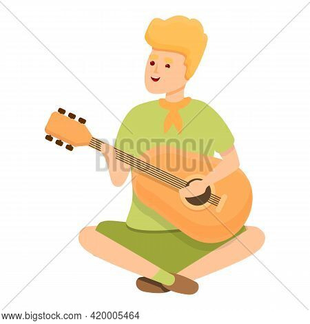 Scouting Guitar Play Icon. Cartoon Of Scouting Guitar Play Vector Icon For Web Design Isolated On Wh
