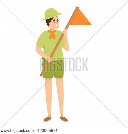 Scouting Smiling Boy Icon. Cartoon Of Scouting Smiling Boy Vector Icon For Web Design Isolated On Wh