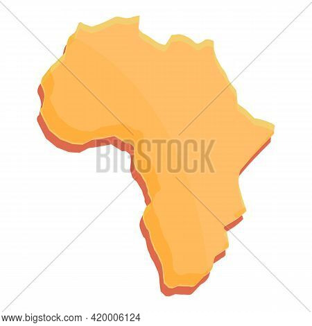 African Continent Icon. Cartoon Of African Continent Vector Icon For Web Design Isolated On White Ba