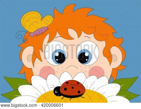 Red-haired Boy Looking At A Ladybug That Sitting On A Chamomile.