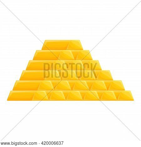 Gold Bar Pile Icon. Cartoon Of Gold Bar Pile Vector Icon For Web Design Isolated On White Background