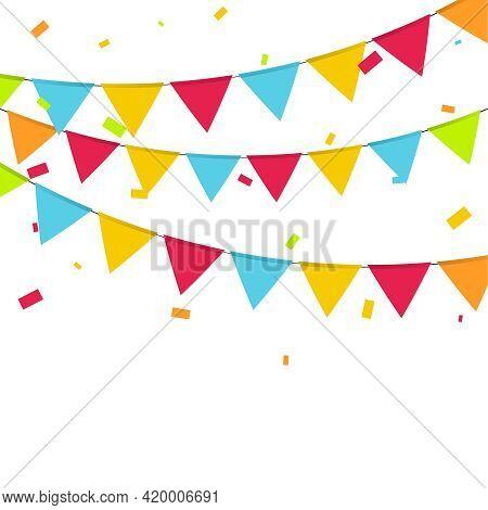 Carnival Garland With Colorful Flags And Festive Confetti. Vector Multicolored Buntings For Holiday