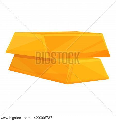 Golden Bar Earnings Icon. Cartoon Of Golden Bar Earnings Vector Icon For Web Design Isolated On Whit