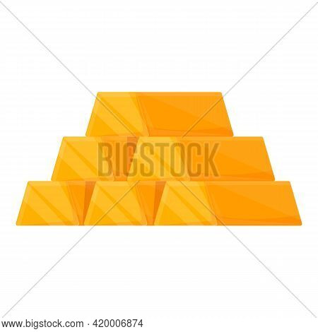 Golden Bar Accounting Icon. Cartoon Of Golden Bar Accounting Vector Icon For Web Design Isolated On