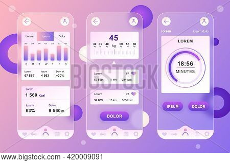 Fitness Workout Neumorphic Elements Kit For Mobile App. Weight Graph, Calorie Tracking, Sports Activ