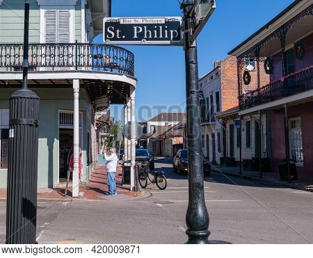 New Orleans, La - January 13, 2021: Historic Matassa's Market And St. Philip Street Sign In The Fren
