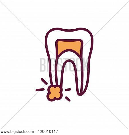Tooth Cyst Line Icon. Isolated Vector Element.