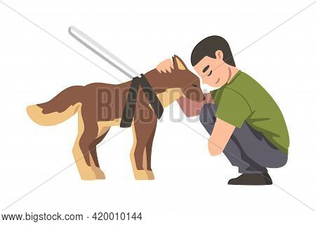 Blind Man Walking With His Seeing Eye Dog, Trained Animal Guiding Disabled Person, Rehabilitation, H
