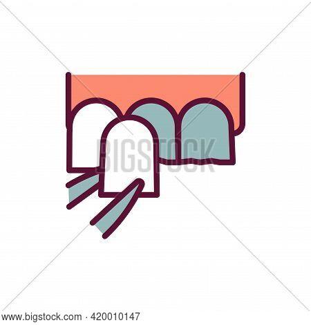Dental Veneers Line Icon. Isolated Vector Element.