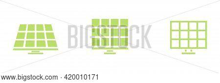 Solar Energy Icon Set. Frontal Green Solar Panel Outline Collection. Alternative Energy Power. Vecto