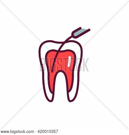 Teeth Canal Treatment Line Icon. Isolated Vector Element.