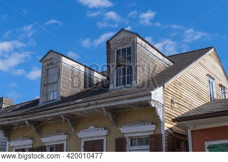 New Orleans, La - January 14: Roof Of Creole Cottage In French Quarter On January 14, 2021 In New Or