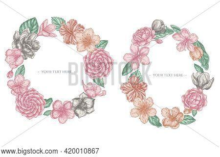 Floral Wreath Of Pastel Hibiscus, Plum Flowers, Peach Flowers, Sakura Flowers, Magnolia Flowers, Cam