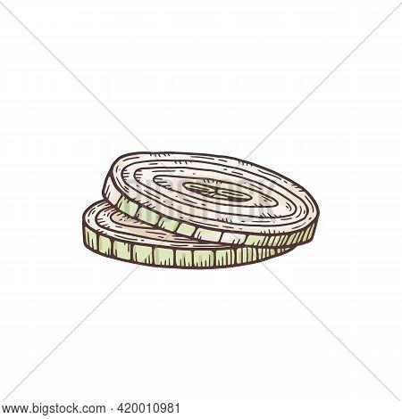 Fresh Onion Sliced With Rings, Vegetable Hamburger Ingredient, Healthy Food.