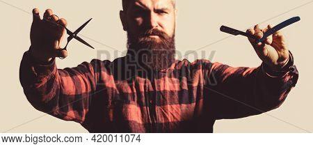Barber Scissors And Straight Razor, Barber Shop. Male In Barbershop. Mens Haircut In Barber Shop. Me
