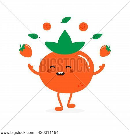 Cute Happy Cartoon Style Orange Persimmon Character Juggling, Throwing Up In Air Persimmon Fruits An