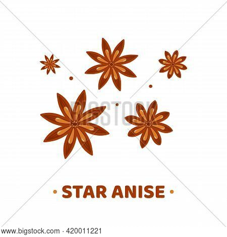 Set, Collection Of Cute Cartoon Style Star Anise Icons, Illustration.