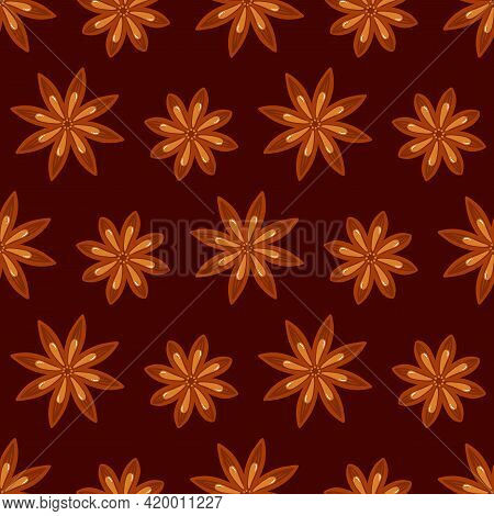 Cute Cartoon Style Star Anise Vector Seamless Pattern Background.