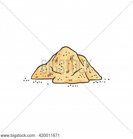 Heap Of Ground Licorice Root Sweetener, Engraving Vector Illustration Isolated.