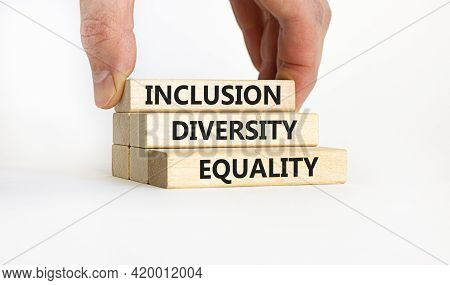 Diversity, Inclusion And Belonging Symbol. Wooden Blocks With Words 'diversity, Inclusion, Belonging