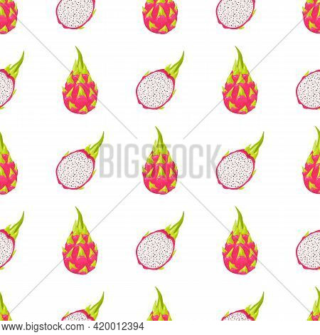 Seamless Pattern With Fresh Whole And Half Cut Red Pitaya Fruits Isolated On White Background. Summe