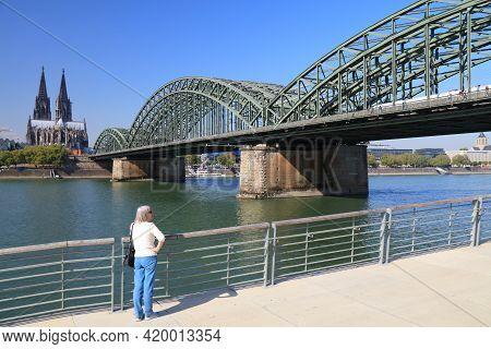 Cologne, Germany - September 22, 2020: People Visit Rhine Boulevard (rheinboulevard) In Cologne City