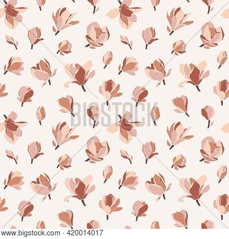 Floral Seamless Pattern With Magnolia Flowers. Modern Minimalist Style, Blooming Buds On A Beige Bac