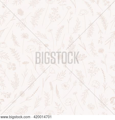 Wildflowers Seamless Pattern, Trendy Vector Illustration. Floral Print In Thin Line, Modern Style De