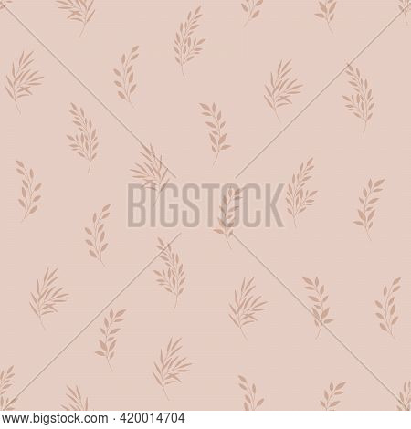 Seamless Pattern With Leaves. Natural Eco Friendly Background, Rustic Theme. Hand Drawn Vector Illus