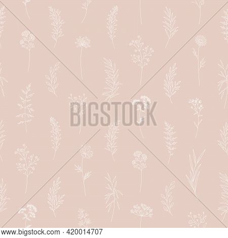 Floral Vector Illustration, Wildflowers Seamless Pattern. Elegant Print, Thin Line, Modern Style Des