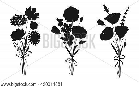 Wildflower Bouquets Set, Floral Silhouettes. Hand Drawn Chamomile, Cosmea, Poppy, Lavender, And Othe
