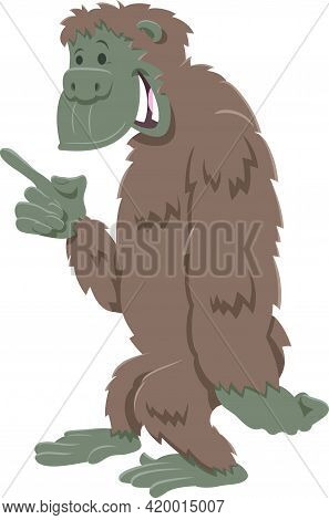 Cartoon Illustration Of Funny Gorilla Ape Comic Animal Character